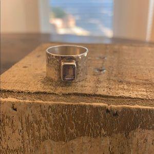 Purple hammered cigar ring
